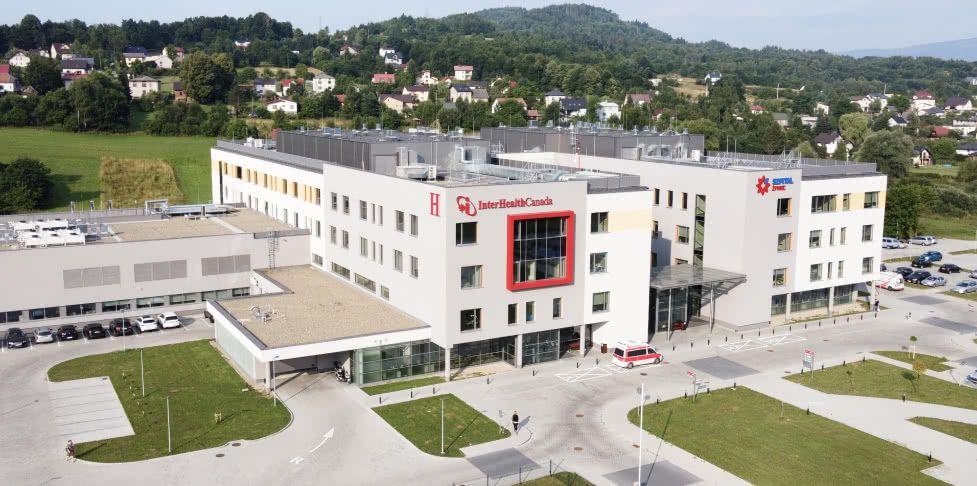Budynek Szpitala Żywiec z powietrza
